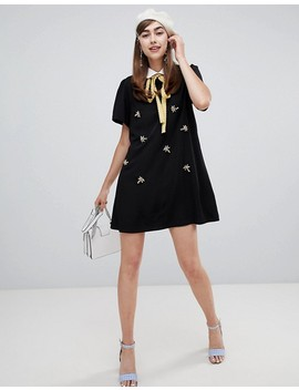 Sister Jane Shift Dress With Ribbon Tie And Damselfly Embellishment by Sister Jane