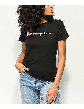 Champion Pink Script Black T Shirt by Champion
