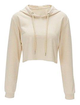 Women Long Sleeve Pullover Hooded Sweatshirt Casual Loose Crop Top Shirt by Lukycild