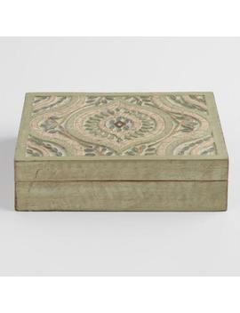 Green Geometric Carved Wood Ashanti Tea Storage Box by World Market