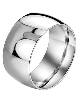 Men,Women's Wide 11mm Stainless Steel Ring Band Silver Classic Wedding Polished by Menso