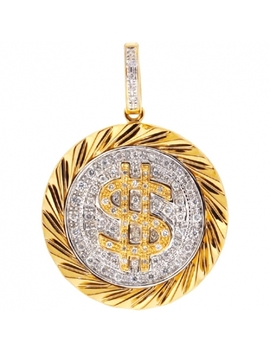 14 K Yellow Gold 0.50 Ct Diamond Dollar Sign Mens Pendant by 24diamonds