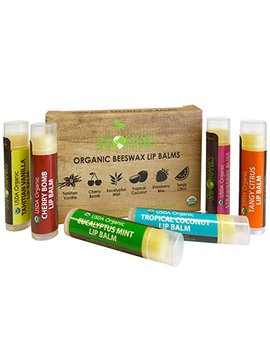 Usda Organic Lip Balm By Sky Organics – 6 Pack Assorted Flavors –  With Beeswax, Coconut Oil, Vitamin E. Best Lip Plumper Chapstick For Dry Lips  For Adults And Kids Lip Repair.... by Sky Organics