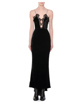 Cami Strap Lace Front Velvet Evening Gown With Fishtail Hem by Stella Mc Cartney
