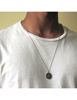 Silver Coin Necklace , Mens Silver Necklace , Mens Necklace , Ancient Coin Pendant , Necklace For Men , Guy Necklace , Circle Necklace by Etsy