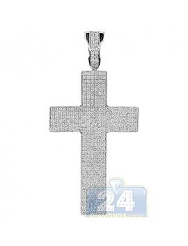 14 K White Gold 0.96 Ct Diamond Pave Latin Cross Pendant by 24diamonds