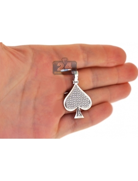 14 K White Gold 0.94 Ct Diamond Spades Symbol Mens Pendant by 24diamonds
