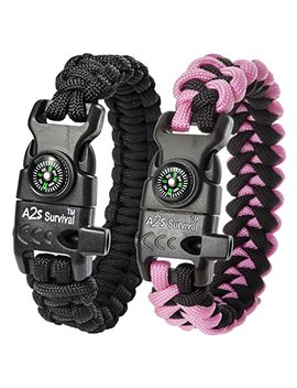 A2 S Protection Paracord Bracelet K2 Peak – Survival Gear Kit With Embedded Compass, Fire Starter, Emergency Knife & Whistle Edc Hiking Gear  Camping Gear by A2 S Protection