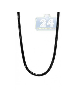 Black Pvd Stainless Steel Snake Mens Chain 36 Inches by 24diamonds