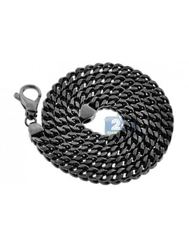 Black Sterling Silver Hollow Franco Mens Chain 7 Mm by 24diamonds