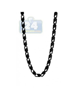 Black Pvd Stainles Steel Link Mens Chain 30 Inches by 24diamonds