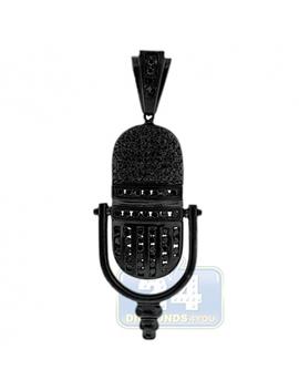 Black 14 K Gold 1.55 Ct Diamond Ribbon Microphone Pendant by 24diamonds
