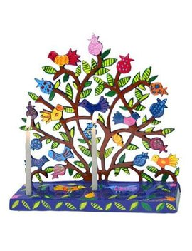 Yair Emanuel Tree Of Life Menorah With Birds And Pomegranates In Lazer Cut Metal by Yair Emanuel