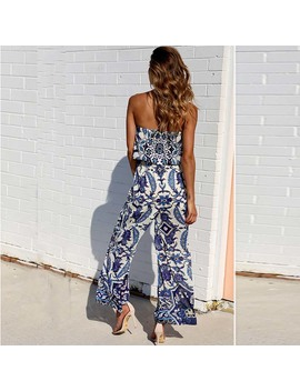 2018 Summer Jumpsuit Long Rompers Womens Strapless Long Jumpsuit Women Jumpsuit Backless Loose Print Elegant Woman Jumpsuit by Xiermend