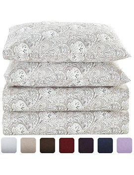 Mellanni Bed Sheet Set Brushed Microfiber 1800 Bedding   Wrinkle, Fade, Stain Resistant   Hypoallergenic   4 Piece (Queen, Paisley Gray) by Mellanni