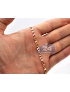 14 K Three Tone Gold Figaro Link Unisex Chain 3 Mm 16 Inches by 24diamonds