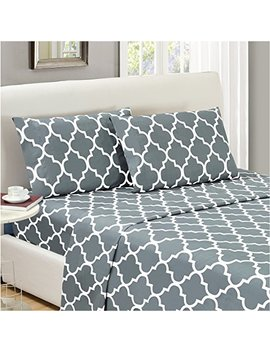 Mellanni Bed Sheet Set Queen Gray   Highest Quality Brushed Microfiber Printed Bedding   Deep Pocket, Wrinkle, Fade, Stain Resistant   Hypoallergenic   4 Piece (Queen, Quatrefoil Silver   Gray) by Mellanni