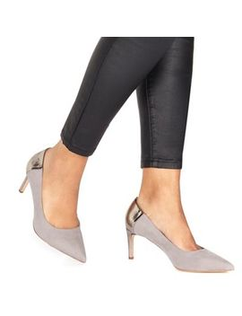 Faith   Grey Suedette 'cacey' High Heel Wide Fit Pointed Shoes by Faith