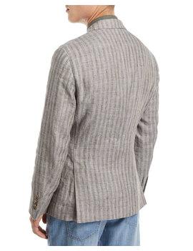 Melange Striped Linen Sport Jacket by Brunello Cucinelli