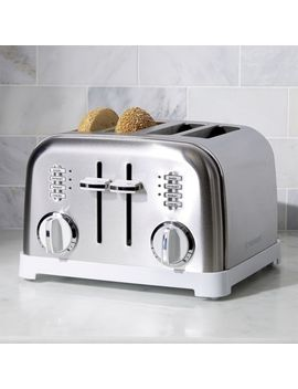Cuisinart ® Classic 4 Slice White/Brushed Stainless Steel Toaster by Crate&Barrel