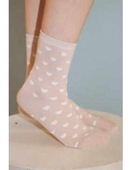 Pink And White Heart Socks by Brandy Melville