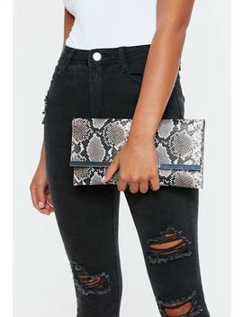 Brown Snakeskin Print Clutch Bag by Missguided
