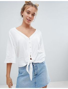 Bershka Button Down Knot Front Blouse In White by Bershka