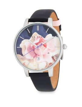 Stainless Steel Floral Leather Strap Watch by Ted Baker London