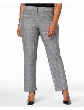 Plus Size Plaid Straight Leg Pants by Nine West
