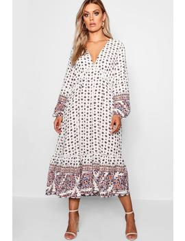 Plus Border Print Ruffle Hem Midi Dress by Boohoo