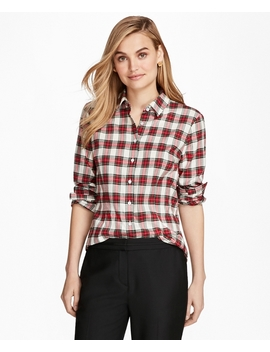 Tartan Cotton Flannel Shirt by Brooks Brothers
