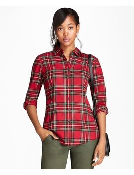 Cotton Tartan Flannel Shirt by Brooks Brothers