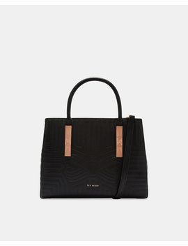 Bow Embossed Leather Tote Bag by Ted Baker