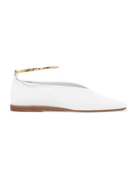embellished-glossed-leather-ballet-flats by jil-sander