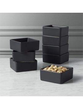 Set Of 8 Bento Matte Black Mini Bowls by Crate&Barrel