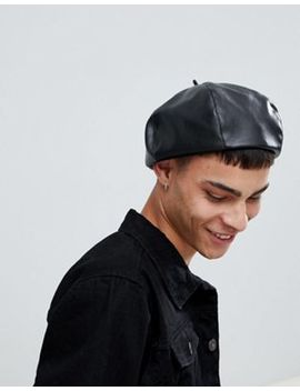 Asos Design Beret In Black Faux Leather by Asos Design