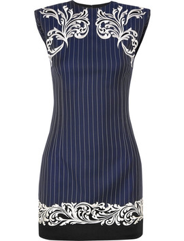 Satin Trimmed Embroidered Pinstriped Wool Mini Dress by Versace