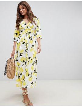 Asos Design Button Through Maxi Dress In Lemon Print by Asos Design
