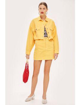 Petite Yellow Denim Skirt by Topshop