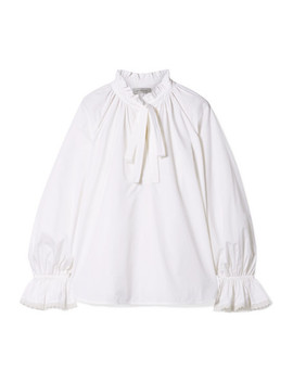 Miller Pussy Bow Ruffled Cotton Poplin Top by Lee Mathews