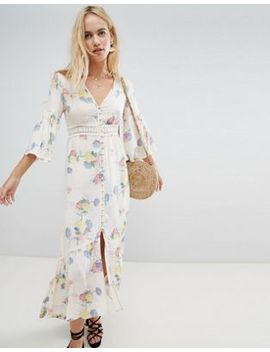 Asos Design Lace Insert Button Through Maxi Dress In Soft Floral by Asos Design