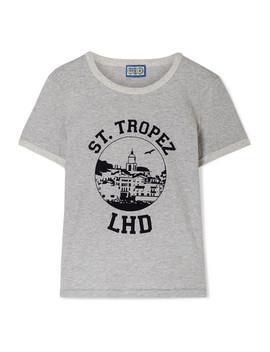 D'azur Flocked Mélange Cotton Jersey T Shirt by Lhd