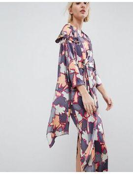Asos White Printed Silk Twist Tie Dress by Asos White
