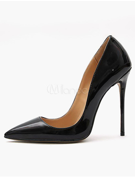 Black High Heels 2018 Pointed Toe Slip On Pumps Women Dress Shoes by Milanoo