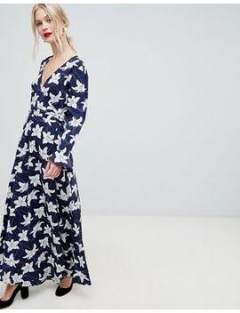 Liquorish Floral Print Wrap Maxi Dress by Liquorish