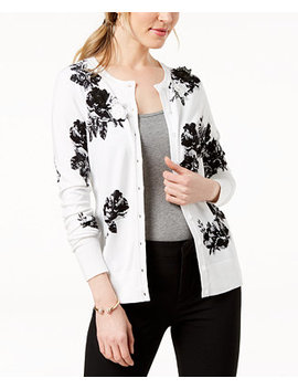 Floral Print Appliqué Detail Cardigan, Created For Macy's by Charter Club