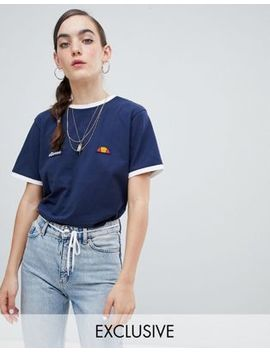 Ellesse Ringer T Shirt With Embroidered Chest Logo by Ellesse