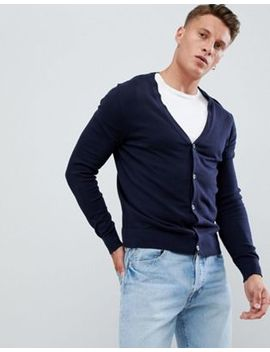 Burton Menswear Cardigan In Navy by Burton Menswear London