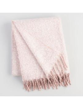 Blush Pink Herringbone Chenille Throw Blanket by World Market