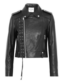 Annarae Lace Up Leather Biker Jacket by W118 By Walter Baker